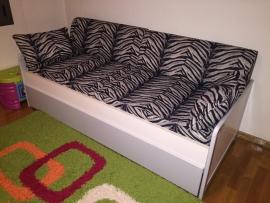 Καναπές κρεβάτι CLASSIC σε λευκό βακελίτη με γκρι λάκα, 2 στρώματα, υφάσματα και μαξιλάρες